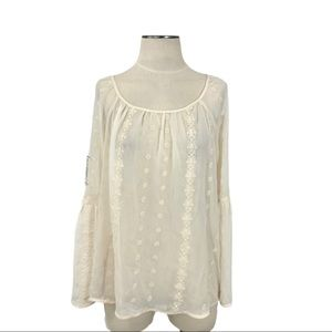 Knox Rose- Cream Eyelet Embroidered Blouse M